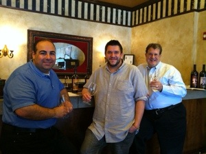 Ara with band mates Mike Shimmin and Leon Janikian trying out the local vino!
