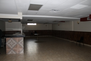 The basement. Now one of the few rooms that have been renovated, the use is still the same! A gathering room and it is rented out for smaller parties.