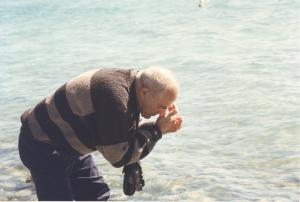 My uncle Ike, experiencing the water on his face from Lake Sevan.
